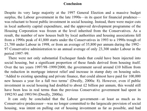 labour housing lows