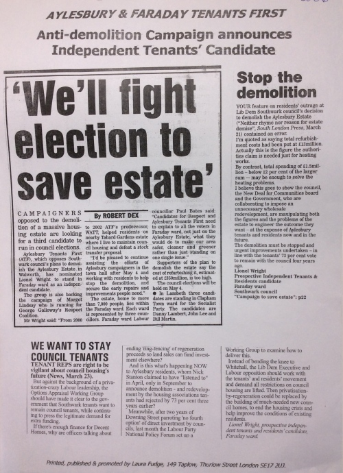 aylesbury campaign leaflet election save