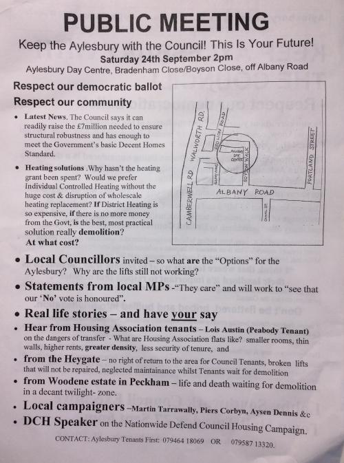 aylesbury campaign leaflet public meeting 2005