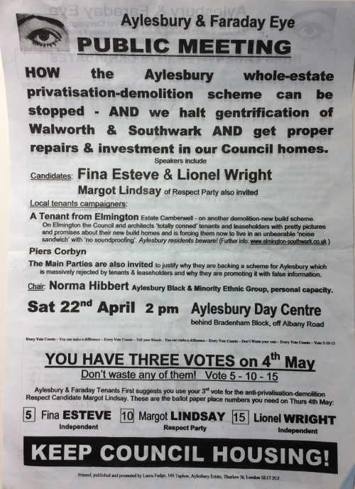 aylesbury campaign leaflet standing back