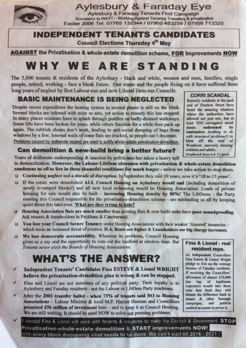 aylesbury campaign leaflet why standing
