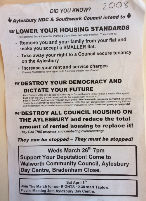 aylesbury estate campaigns 2008 front
