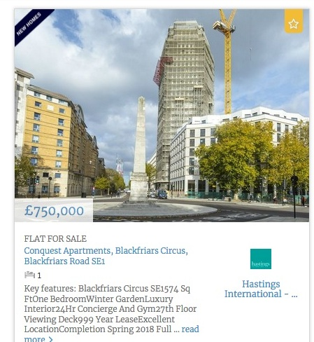 BLACKFRIARS CIRCUS one bed price